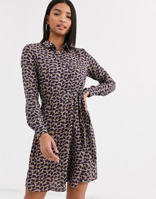 Vila leaf print high neck dress