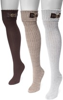 Muk Luks Ribbed Over-the-Knee Buckle Cuff Socks - 3 Pairs