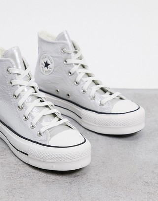 Converse Chuck Taylor Lift hi platform trainers in metallic silver