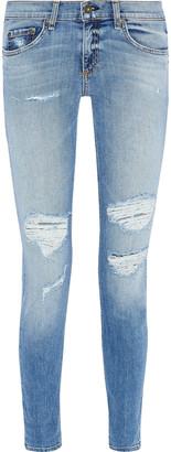 Rag & Bone Dre Distressed Low-rise Skinny Jeans