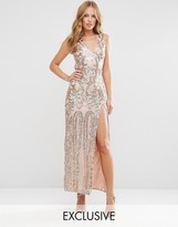 Club L Patterned Sequin Maxi Dress with Open Back