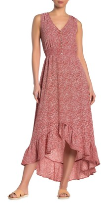 Threads And States Sleeveless Button Front High/Low Maxi Dress