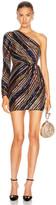 Self-Portrait Stripe Sequin Mini Dress in Multi | FWRD