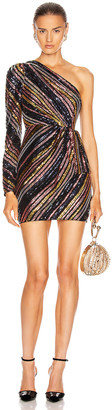 Self-Portrait Stripe Sequin Mini Dress in Multi | FWRD