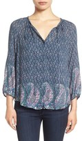 Lucky Brand Paisley Border Print Peasant Blouse