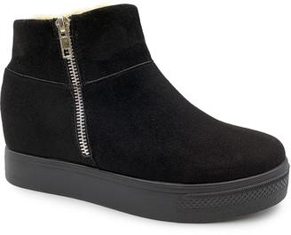 Bamboo Women's Sneakers BLACK - Black Double-Zip Rise Faux Fur-Trim Platform Sneaker - Women