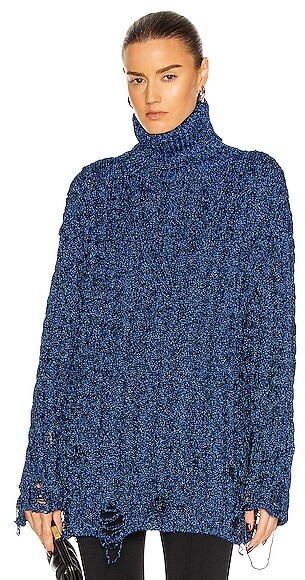 Thumbnail for your product : Balenciaga Long Sleeve Turtleneck Sweater in Blue