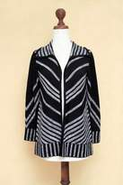 Black and Grey Artisan Crafted Alpaca Blend Coat, 'Chevrons'