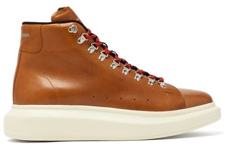 Alexander McQueen Raised-sole Low-top Leather Boots - Mens - Brown