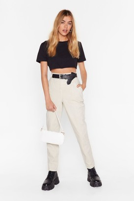 Nasty Gal Womens High-Waisted Denim Jeans with Seam Detailing - Ecru