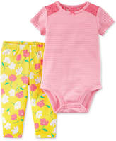 Carter's 2-Pc. Cotton Lace-Detail Striped Bodysuit & Floral-Print Pants Set, Baby Girls