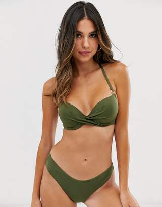 Dorina mix & match Fiji padded bikini top in khaki-Green
