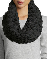 Neiman Marcus Floral Chunky Knit Infinity Scarf, Charcoal