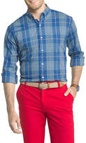 Izod Advantage Performance Stretch Long Sleeve Plaid Button-Front Shirt-Big and Tall
