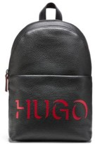 HUGO BOSS - Buffalo Embossed Leather Backpack With 3 D Effect Logo - Black