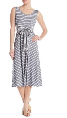 Max Studio Front Tie Stripe Print Sleeveless Dress