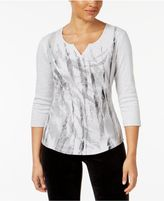 Karen Scott Split-Neck Studded Active Top, Created for Macy's