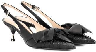 Prada Leather bow slingback pumps