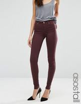 ASOS Tall ASOS TALL LISBON Mid Rise Jeans in Blackened Oxblood