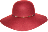 Nine West Burgundy Metallic Tube Accent Wool Felt Floppy Hat