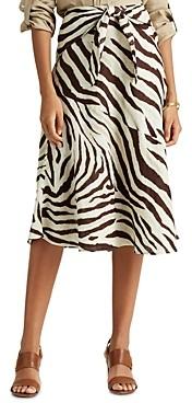 Ralph Lauren Ralph Tie-Waist Animal Print Midi Skirt