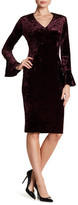 London Times Crushed Velvet V-Neck Bell Sleeve Sheath Dress