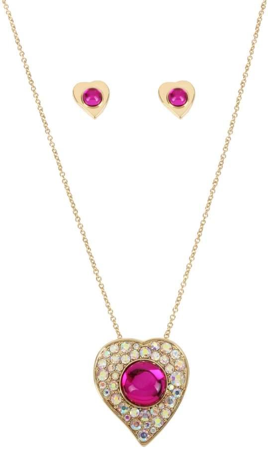 Betsey Johnson Achy Breaky Hearts Crystal Pendant Necklace Stud Earrings Set