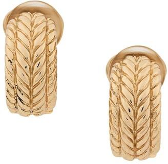 Christian Dior 1970's Pre-Owned Embossed Demi-Hoop Clip-On Earrings