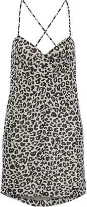 Mason by Michelle Mason Open-back Leopard-print Silk-chiffon Mini Slip Dress