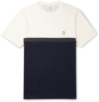 Brunello Cucinelli Slim-Fit Cotton-Jersey And Pique T-Shirt