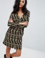 Love Moschino Ornate Printed Long Sleeved Dress
