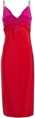 Cushnie Twisted Colorblock Silk Dress