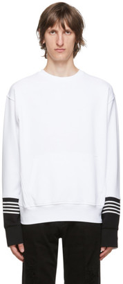 Neil Barrett White Front Pocket Stripe Sweatshirt