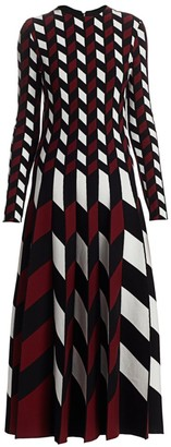 Oscar de la Renta Checkered Chevron Knit Fit-&-Flare Dress