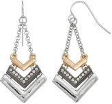 Apt. 9 Tri Tone Chevron Drop Earrings