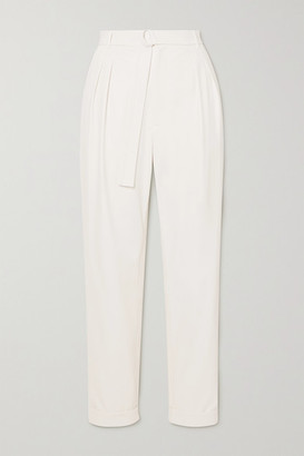 Sally LaPointe Belted Pleated Faux Stretch-leather Tapered Pants - White
