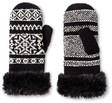 isotoner mittens isotoner black white snowflakes