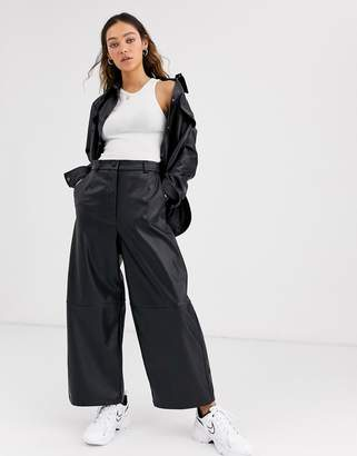 Weekday regina PU wide leg trouser in black