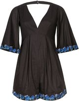Wolfwhistle Wolf & Whistle Blue & Black Embroidered Playsuit