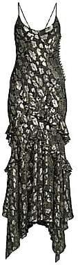 Michael Kors Women's Ruffled Metallic Python-Print Slip Dress