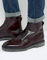 Asos Brogue Boots In Burgundy Leather