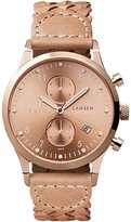 Triwa Women's BD010614 Rose Lansen Chrono Rose Dial Tan Leather Braided Strap Watch