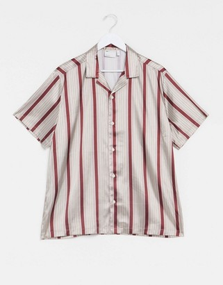 ASOS DESIGN regular revere satin stripe shirt