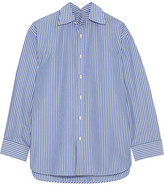 Balenciaga Oversized Striped Cotton-blend Poplin Shirt - Blue