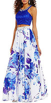 Masquerade High Beaded Neck Lace Crop Top Floral Skirt Two-Piece Long Dress