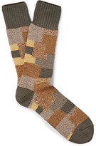 Anonymous Ism - Patchwork Knitted Socks - Army green