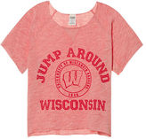 PINK University Of Wisconsin Cropped Crew