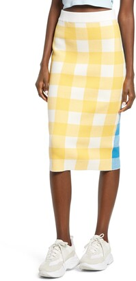 ENGLISH FACTORY Gingham Check Pencil Skirt