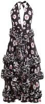 Molly Goddard Antonia Floral-print Ruffled Dress - Womens - Black White