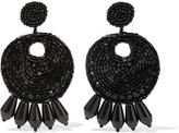 Kenneth Jay Lane Beaded Clip Earrings - Black